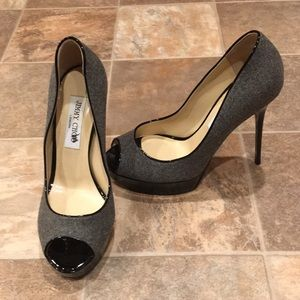 Jimmy Choo Grey Felt Stilletos